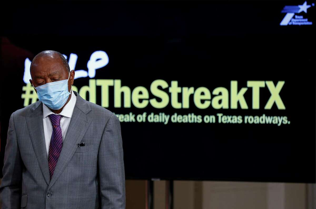 Mayor Sylvester Turner during a press conference regarding how both Houston and Texas are addressing roadway fatalities, at Houston City Hall on Nov. 5, 2020. The last time no one died on a Texas road was Nov. 7, 2000.