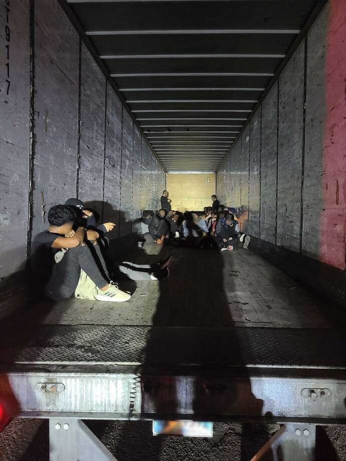 Laredo police officers discovered 67 people inside an abandoned locked trailer. U.S. Border Patrol determined that all were immigrants who were in the country illegally. Photo: Courtesy Photo /U.S. Border Patrol