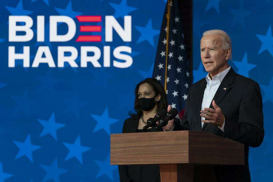 Democratic presidential candidate former Vice President Joe Biden joined by Democratic vice presidential candidate Sen. Kamala Harris, D-Calif., speaks at the The Queen theater Thursday, Nov. 5, 2020, in Wilmington, Del. Photo: AP Photo /Carolyn Kaster