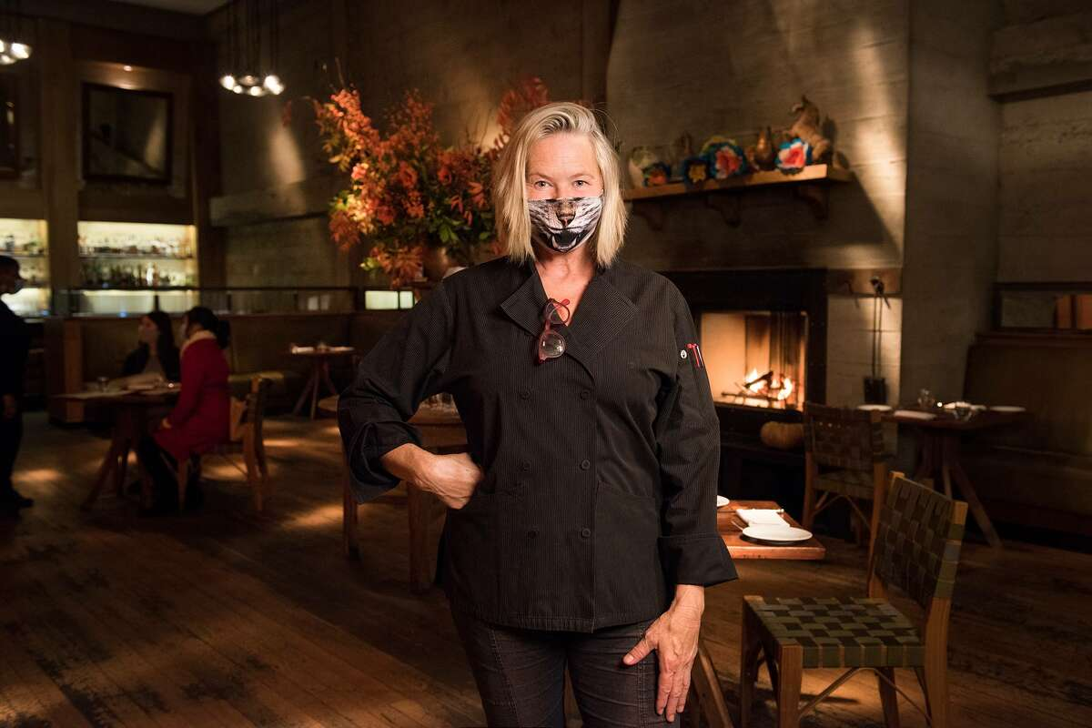 Foreign Cinema chef and co-owner Gayle Pirie stands inside her popular San Francisco restaurant.