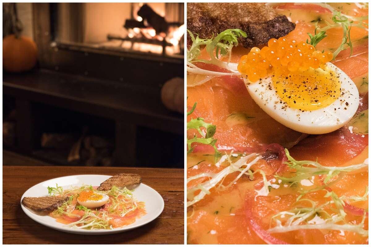 Santa Barbara smoked salmon, farm egg, mustard sauce, pickled onions and toast prepared inside Foreign Cinema.