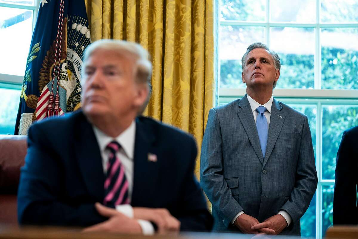 House GOP leader Rep. Kevin McCarthy of Bakersfield (right) has been one of President Trump's main allies in Congress.