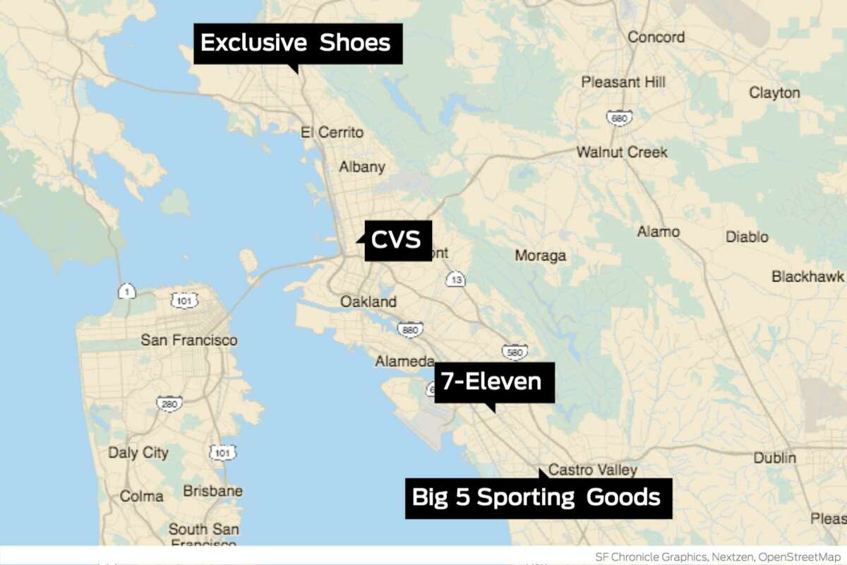 Four East Bay locations were hit in a single night by what police are calling a
