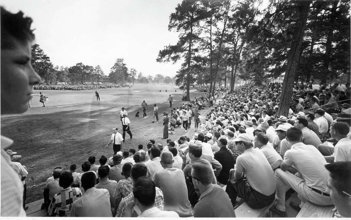 Houston golf fans follow the action at the 1961 Houston Open in Memorial Park. The Vivint Houston Open at the redesigned course is the course's first PGA Tour event since 1963.
