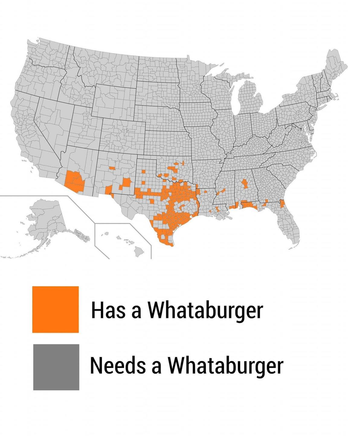 Map Of Whataburgers In The Us The only map that matters': Texas police department jokingly