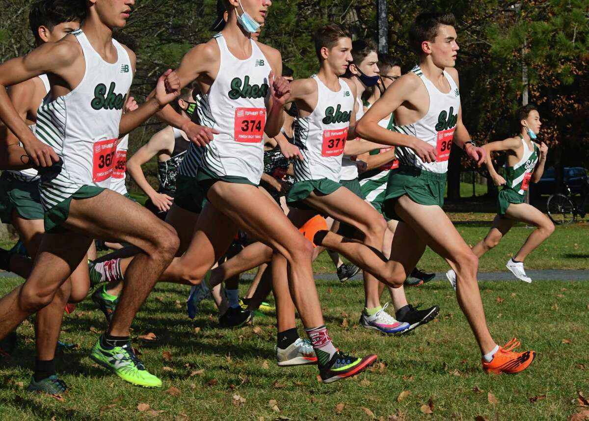 Shenendehowa's Nate Brimhall, second from right, was the first to cross the finish line on his team during a cross country meet against Saratoga at Saratoga Spa State Park on Friday, Nov. 6, 2020 in Saratoga Springs, N.Y. (Lori Van Buren/Times Union)