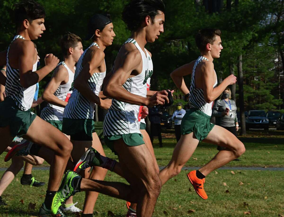 Shenendehowa's Nate Brimhall, right, was the first to cross the finish line on his team during a cross country meet against Saratoga at Saratoga Spa State Park on Friday, Nov. 6, 2020 in Saratoga Springs, N.Y. (Lori Van Buren/Times Union)