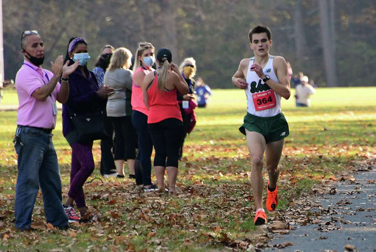 Shenendehowa's Nate Brimhall is the first to cross the finish line on his team during a cross country meet against Saratoga at Saratoga Spa State Park on Friday, Nov. 6, 2020 in Saratoga Springs, N.Y. (Lori Van Buren/Times Union)