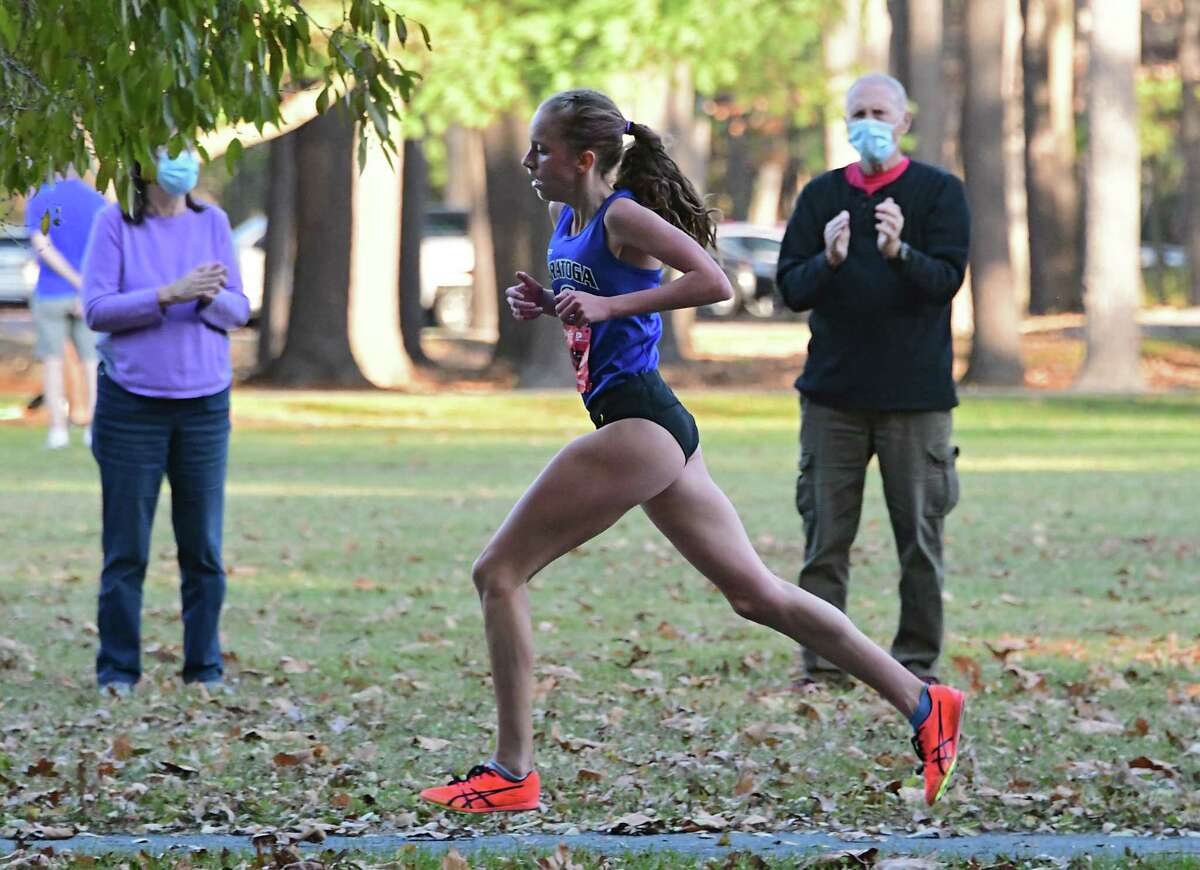 Saratoga's Ella Kurto finishes first from her team during a cross country meet against Shenendehowa at Saratoga Spa State Park on Friday, Nov. 6, 2020 in Saratoga Springs, N.Y. (Lori Van Buren/Times Union)