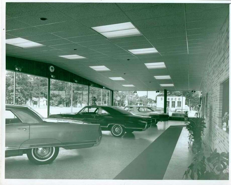 A view inside Mowry Buick-Pontiac-Olds formerly located in Parkdale. (Manistee County Historical Museum photo)