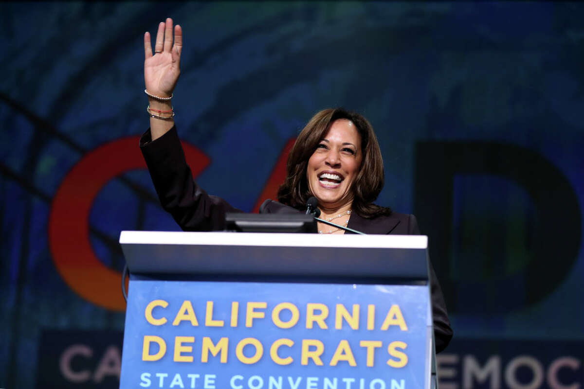 Democratic presidential candidate U.S. Sen. Kamala Harris, D-Calif., acknowledges the crowd as she speaks during Day 2 of the California Democratic Party Convention at the Moscone Convention Center in San Francisco, Calif., on Saturday, June 1, 2019.