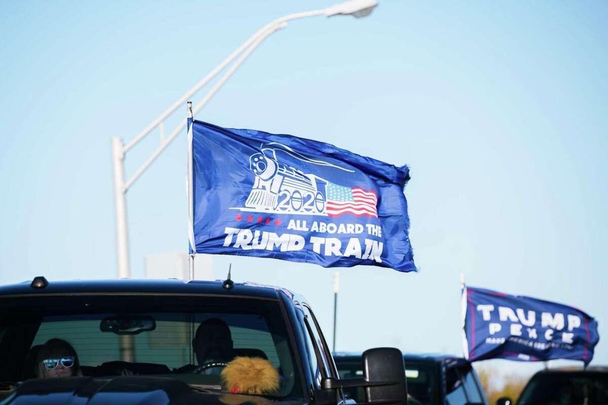 "A ""Trump Train"" caravan drive makes its way through Louisville, Kentucky, on Sunday."