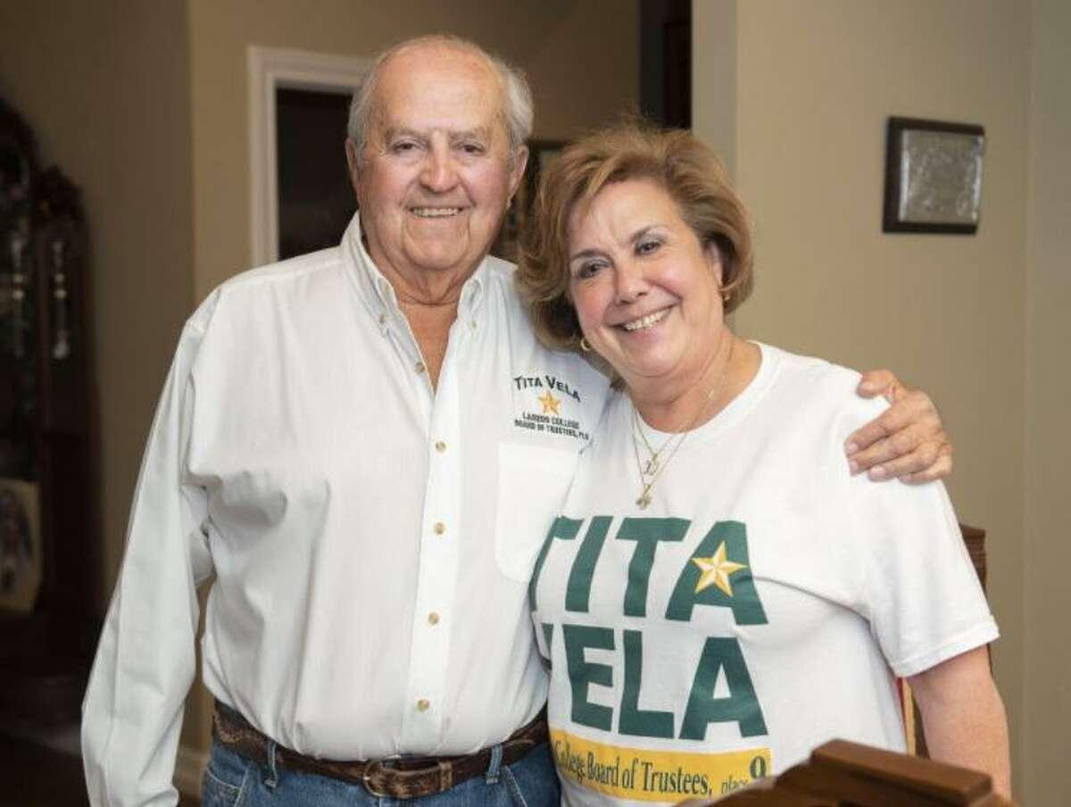 Dr. Carlos Vela Jr. and Tita Vela pose for a photo, Tuesday, Nov. 3, 2020, at their home.