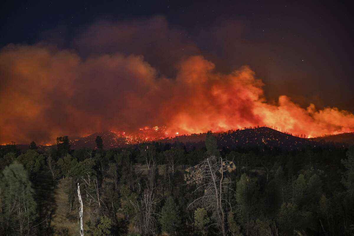 The Zogg Fire burns in Shasta County in September. Cal Fire has seized PG&E equipment from the fire's origin point.