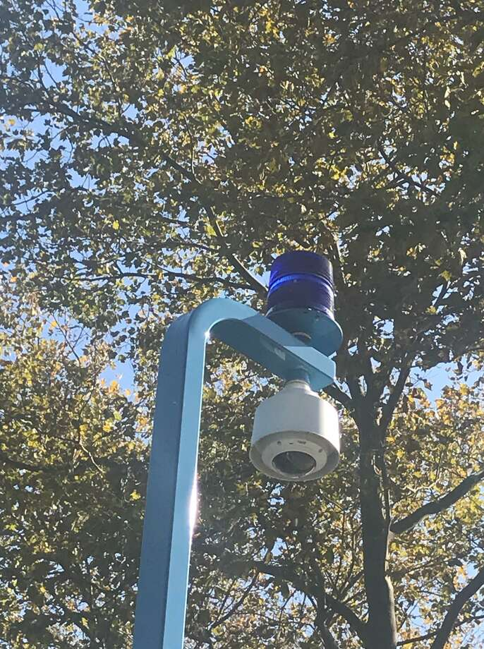 Police say this emergency camera in Carwin Park helped lead them to robbery suspect James Foust. Photo: John Nickerson / Staff