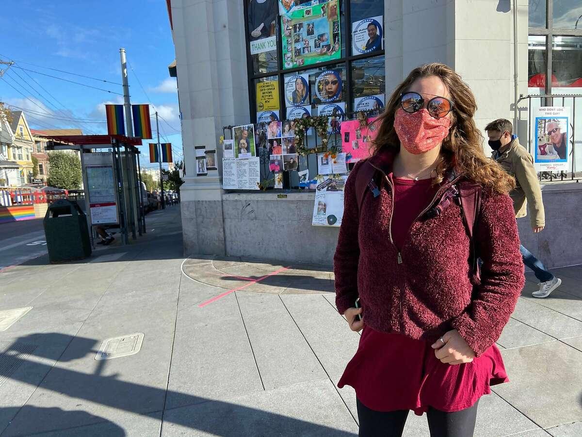 Lauren Weisenstein of Santa Cruz County hopes Joe Biden wins the 2020 presidential election. She is visiting a friend in San Francisco, planning to celeberate a Biden victory.