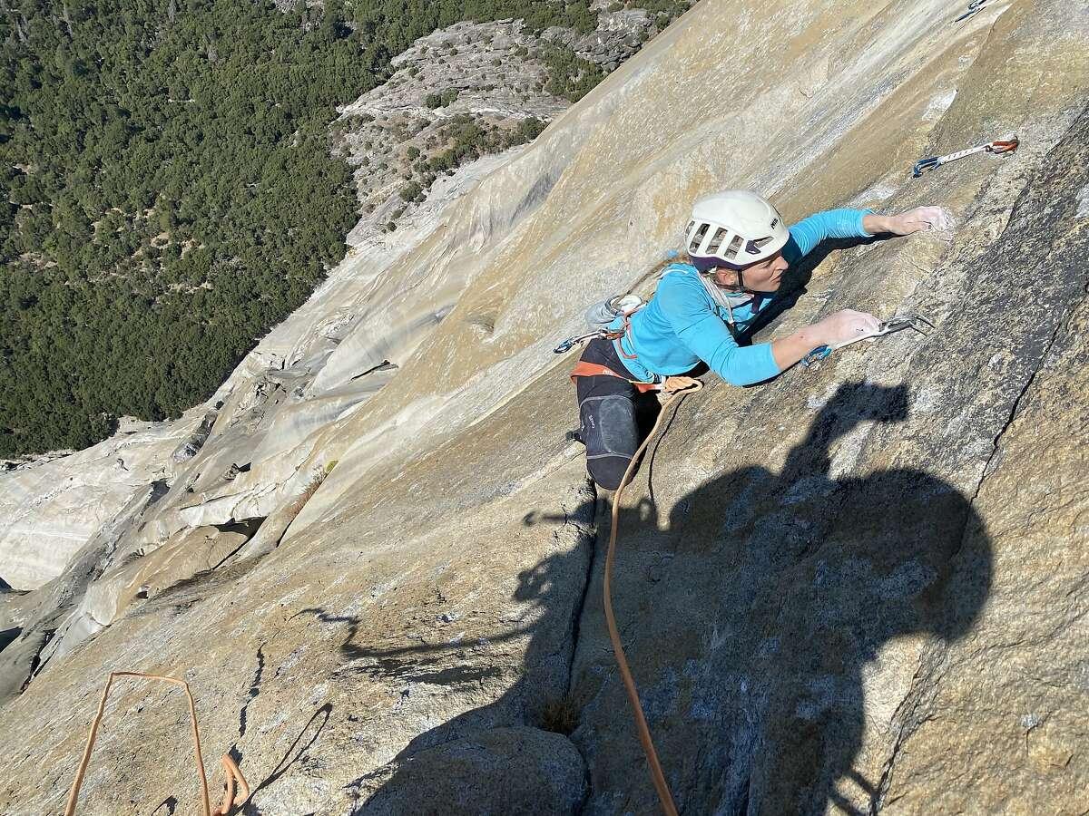 Rock climber Emily Harrington ascends El Capitan in Yosemite Valley in November 2020.