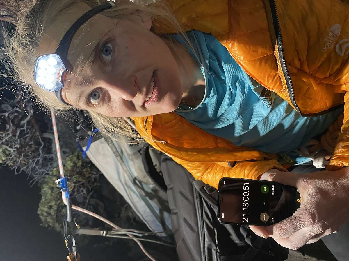 Mountain athlete Emily Harrington after topping out at El Capitan in Yosemite Valley in 21 hours, 13 minutes.