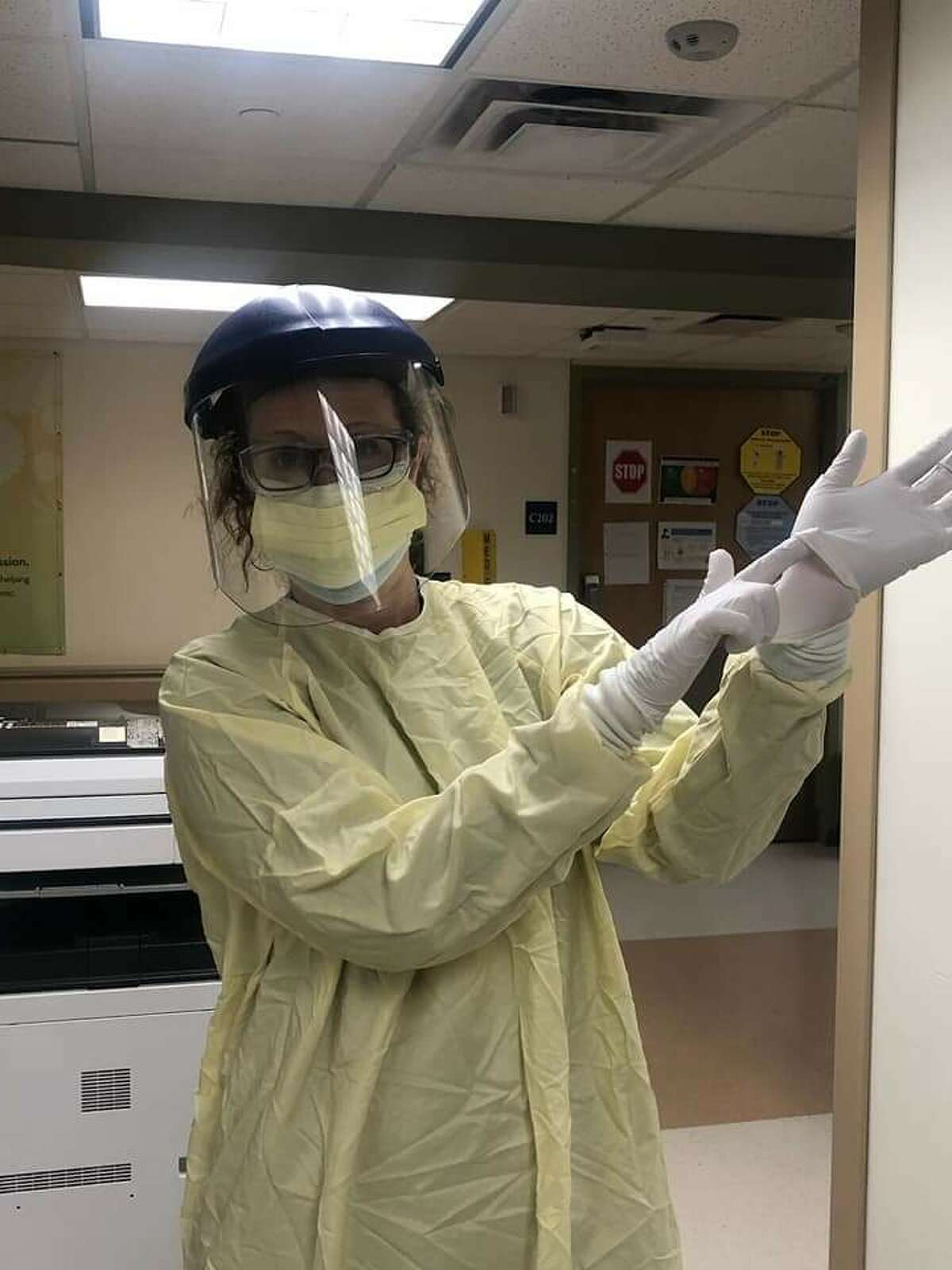 Karen Vincent, the new COVID-19 Coordinator for East Greenbush Central School District, is in her personal protective equipment at Albany Medial Center Hospital in the spring of 2020.