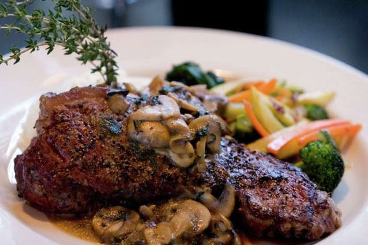 Two Steps Downtown Grille in Danbury is presenting a return to Ciao! Cafe. For a limited time, it will recreate items from its restaurant that was a Danbury landmark for two decades. Steak Aioli - aged New York Strip sauteed with mushrooms, garlic and butcher's pepper is seen here.
