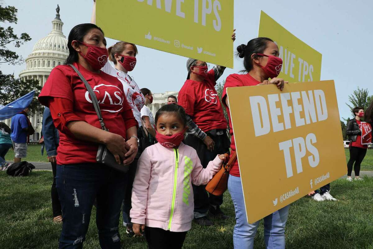 Supporters of the National TPS Alliance, a grassroots organization made up of immigrant rights groups, rally at the U.S. Capitol following a federal court ruling that threatens the legal standing of thousands of protected residents September 15, 2020 in Washington, DC.