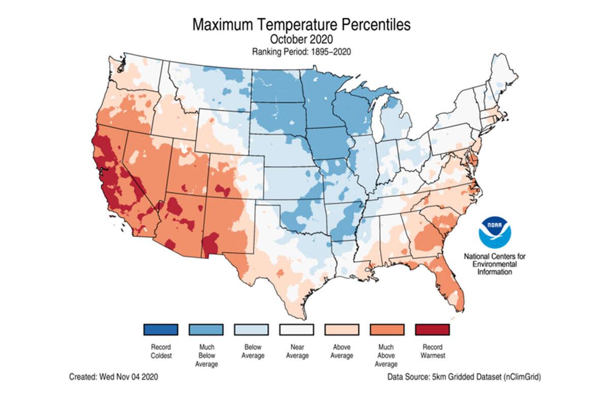 Maximum U.S. temperature percentiles for October 2020.