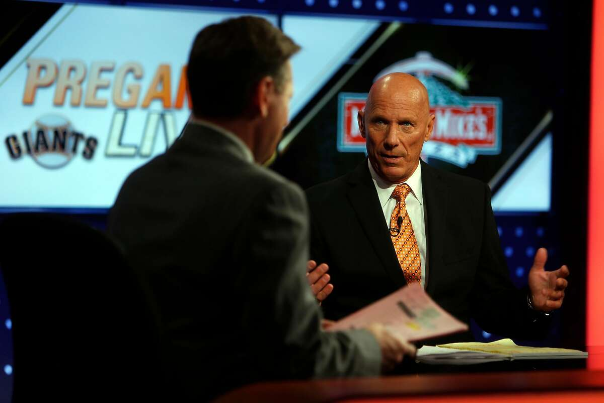 Former San Francisco Giants' coach Tim Flannery joins Greg Papa during Giants' pre-game show on Comcast Sportsnet Bay Area in San Francisco, Calif., on Monday, April 27, 2015.