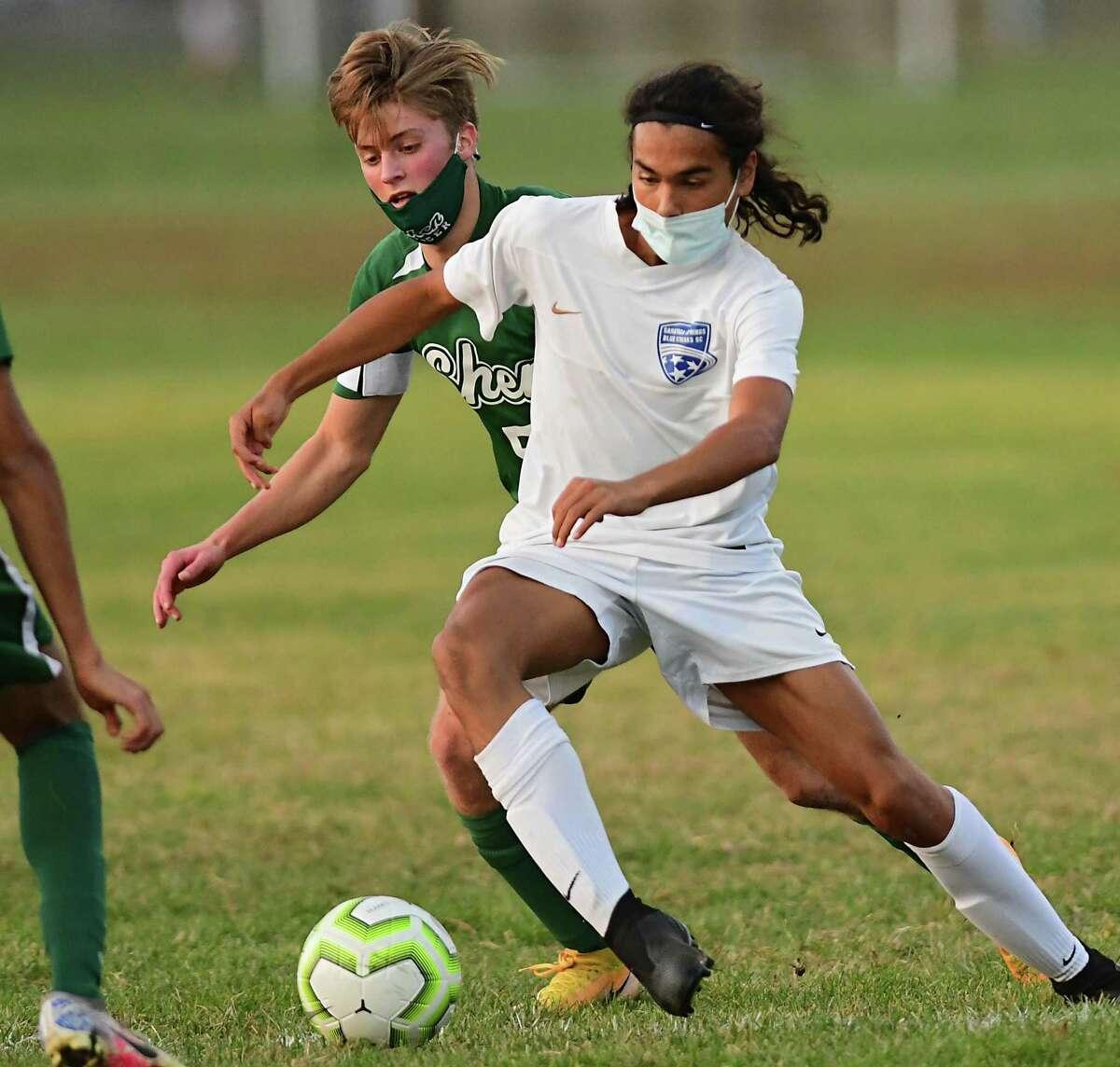 Shenendehowa's Owen Brignati, left, battles with Saratoga's Nicholas Varghese during a soccer game on Friday, Nov. 6, 2020 in Clifton Park, N.Y. (Lori Van Buren/Times Union)