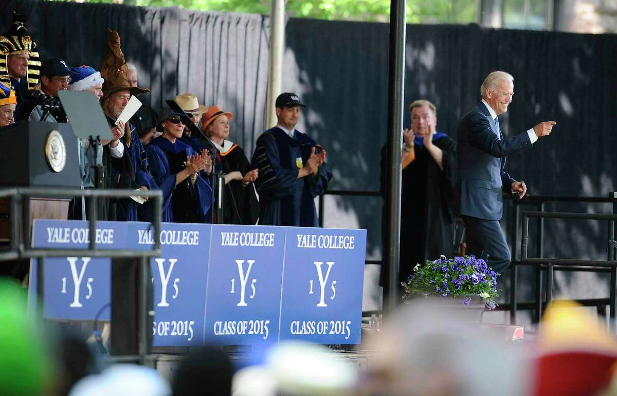 Vice President Joe Biden gestures after delivering the Class Day Address at Yale University, Sunday, May 17, 2015, in New Haven, Conn. Biden urged graduating students to question the judgment of others, but not their motives to build consensus. (AP Photo/Jessica Hill)