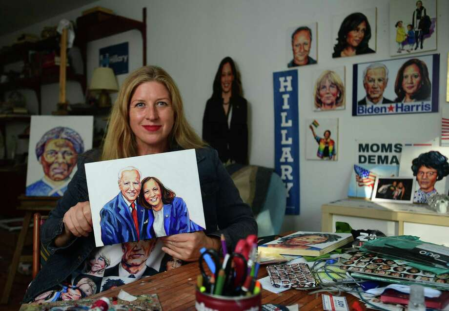 Norwalk artist Tina Dureya in her home studio on Friday in Norwalk. Dureya is also a Democratic Town Committee member who created Sheroes, a series of artwork inspired by women in politics. Dureya has supported Sen. Kamala Harris since she announced her presidential run and consequently, former Vice President Joe Biden. Photo: Erik Trautmann / Hearst Connecticut Media / Norwalk Hour
