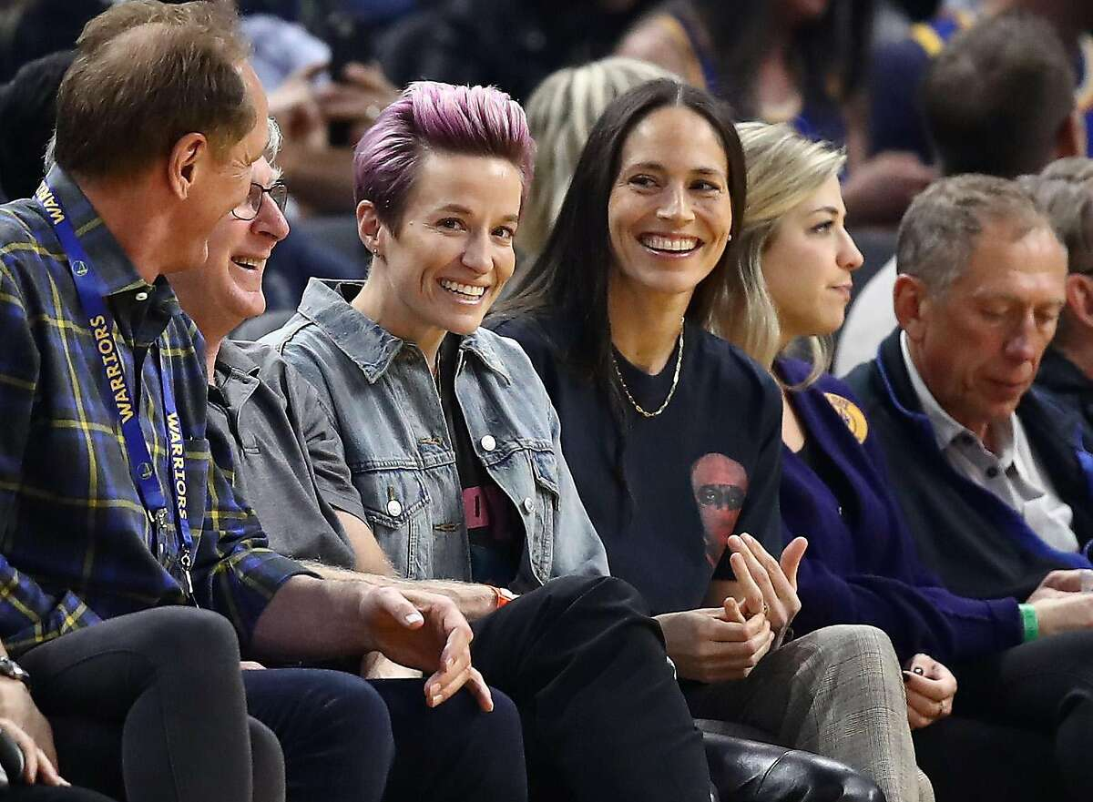 ?FILE - OCTOBER 30: Seattle Storm WNBA player Sue Bird and USWNT soccer player Megan Rapinoe are engaged. Bird announced the engagement on her Instagram on October 30. The couple has been together for four years. SAN FRANCISCO, CALIFORNIA - OCTOBER 30: Soccer star Megan Rapinoe and WNBA star Sue Bird watch the Golden State Warriors play against the Phoenix Suns at Chase Center on October 30, 2019 in San Francisco, California. NOTE TO USER: User expressly acknowledges and agrees that, by downloading and or using this photograph, User is consenting to the terms and conditions of the Getty Images License Agreement. (Photo by Ezra Shaw/Getty Images)