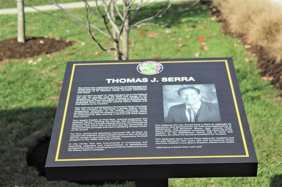 The city of Middletown dedicated a tree to the late Common Council majority leader, former mayor, and principal of Vinal Technical High School Thomas Serra, who died in February 2019 after a battle with pancreatic cancer. The memorial plaque is located at Palmer Field on Bernie O'Rourke Drive. Photo: Cassandra Day / Hearst Connecticut Media