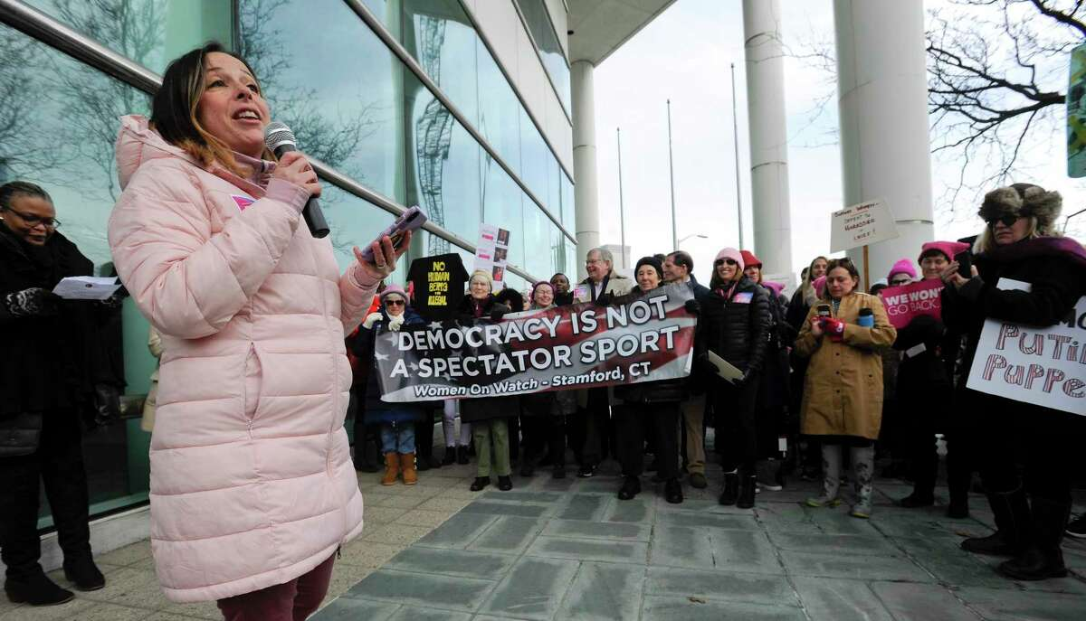 Brook Manewal, founder of Suburban Women Against Trump and Stamford Women's Talking Circle rallies participants at the #PinkWave2020: Rally for Women's Rights in front of the Stamford Government Center on Jan 18, 2020 in Stamford, Connecticut.