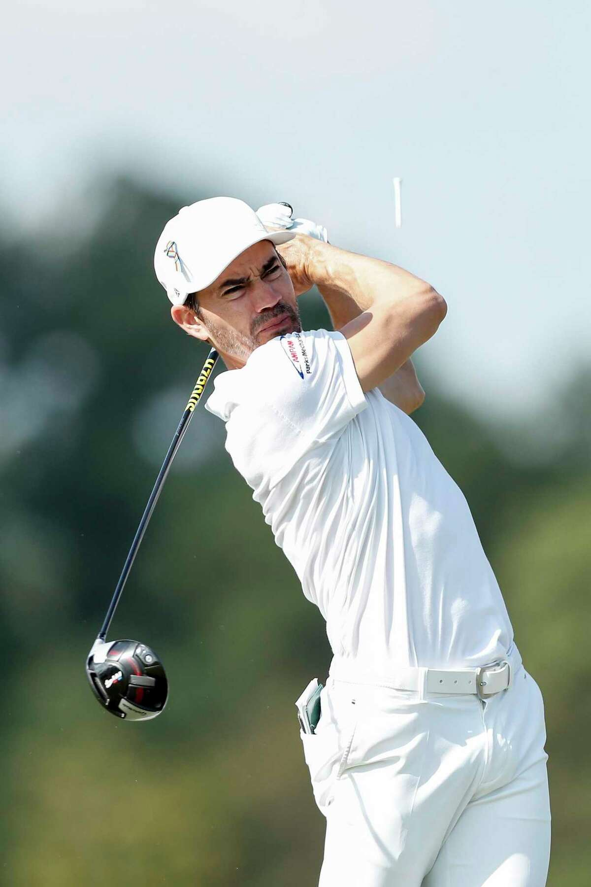 Camilo Villegas plays his shot from the 18th tee during the second round of the Vivint Houston Open at Memorial Park Golf Course on Friday, November 6, 2020.