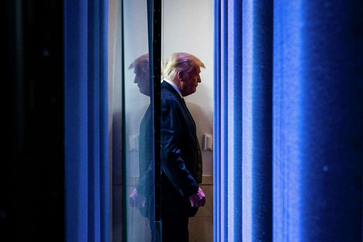 President Trump departs after speaking in the James S. Brady Press Briefing Room at the White House on Thursday.