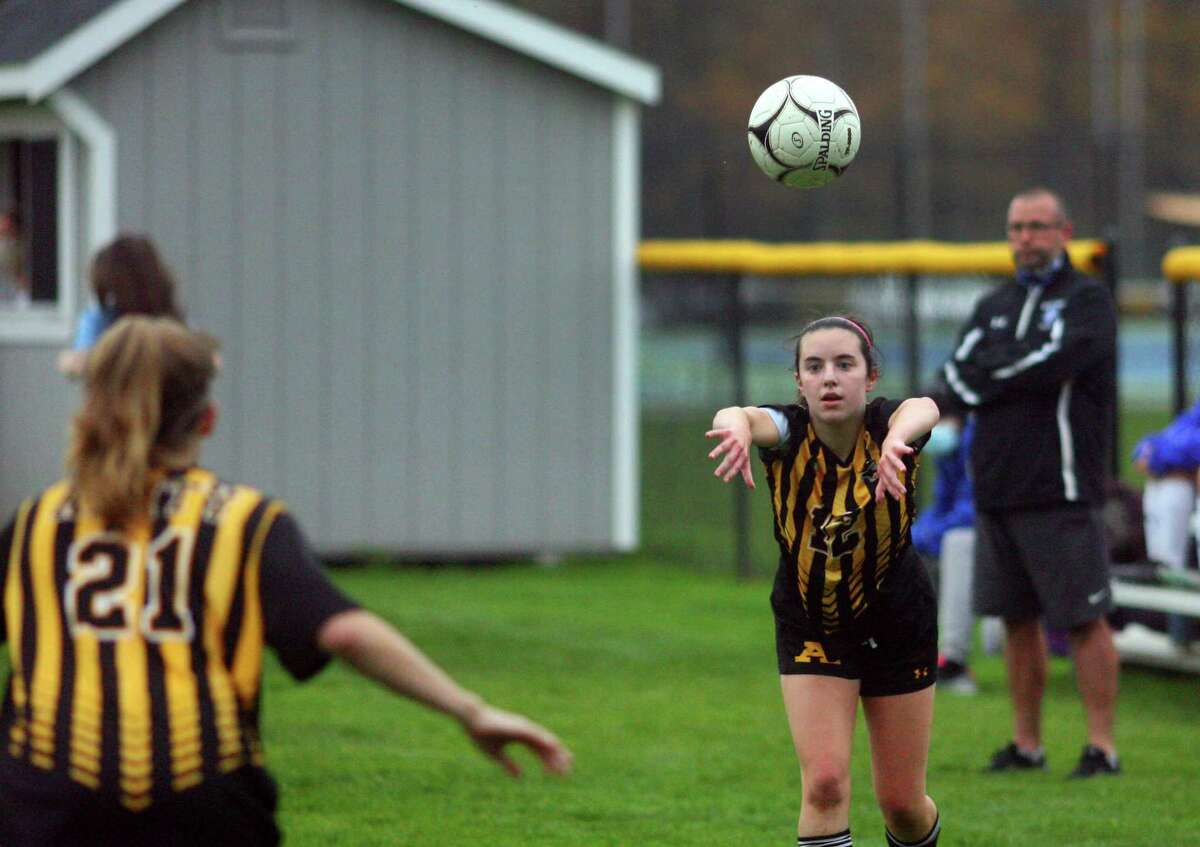 Amity competes in a girls soccer match against West Haven in Woodbridge in October.