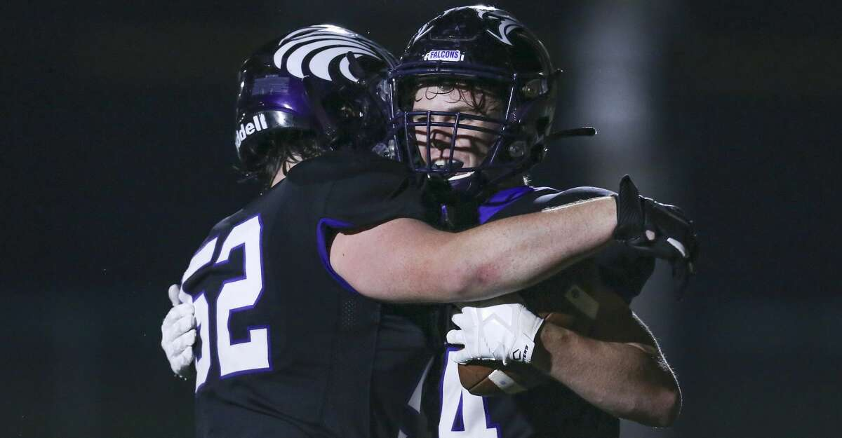Kinkaid Falcons wide receiver wide receiver Charlie Kugle (44) celebrates his touchdown reception with teammate Patrick Iglesias (52) against the Episcopal Knights in the second quarter in a division high school football game on November 6, 2020 at Segal Field at Barnard Stadium in Houston, TX.
