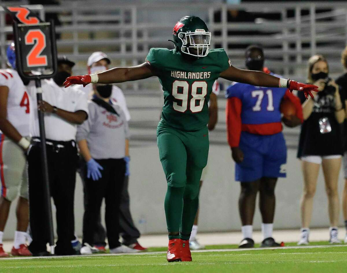 The Woodlands defensive linemen Bradley Warren (98) reacts after making a tackle during the fourth quarter of a District 13-6A high school football game at Woodforest Bank Stadium, Friday, Nov. 6, 2020, in Shenandoah.