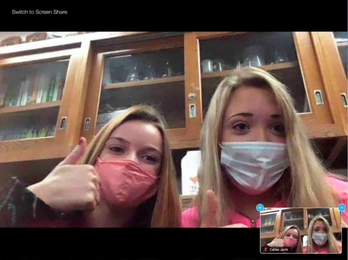 Students Alexis Schmidt and Cailee Janik joined a Zoom session where they were able to meet students from around the nation. (Submitted Photo)