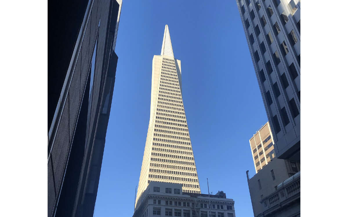 The Transamerica Pyramid and boarded up buildings on Montgomery Street in San Francisco, Calif.