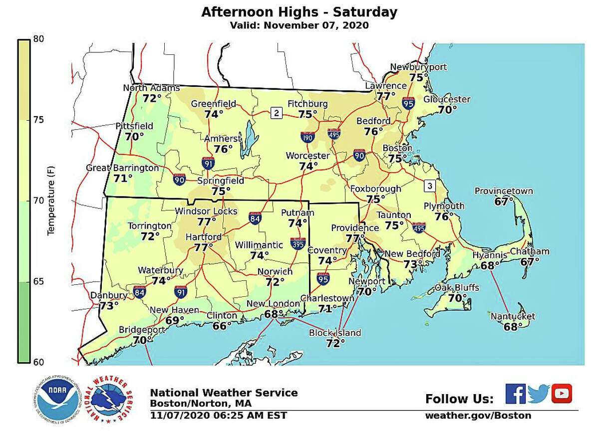 Record or near record temperatures are expected Saturday with highs in the mid to upper 70s for most of Connecticut, according the National Weather Service. Saturday's expected high temperature of 77 degrees would break Hartford's 45-year-record of 74 degrees.