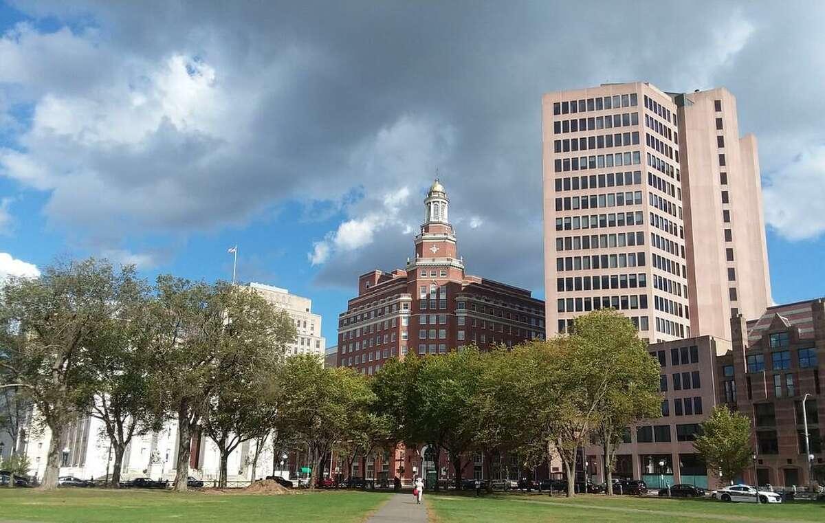 Corner Elm Street and Church Street, downtown New Haven