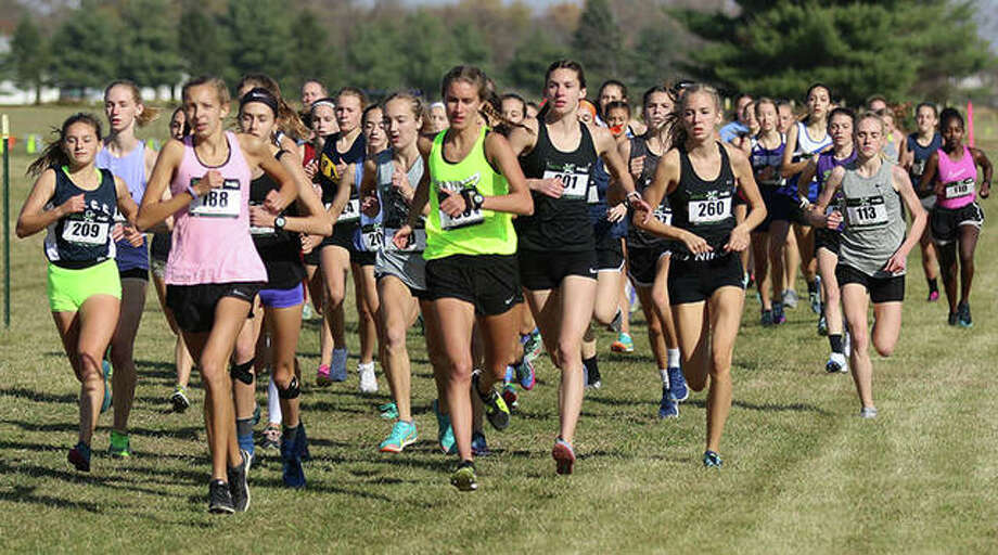 The heat with No. 1 runners and individual entries run in the opening quarter-mile Friday in the ShaZam Racing 2020 Cross Country Championships at Three Sisters Park in Chillicothe. Photo: Greg Shashack / The Telegraph