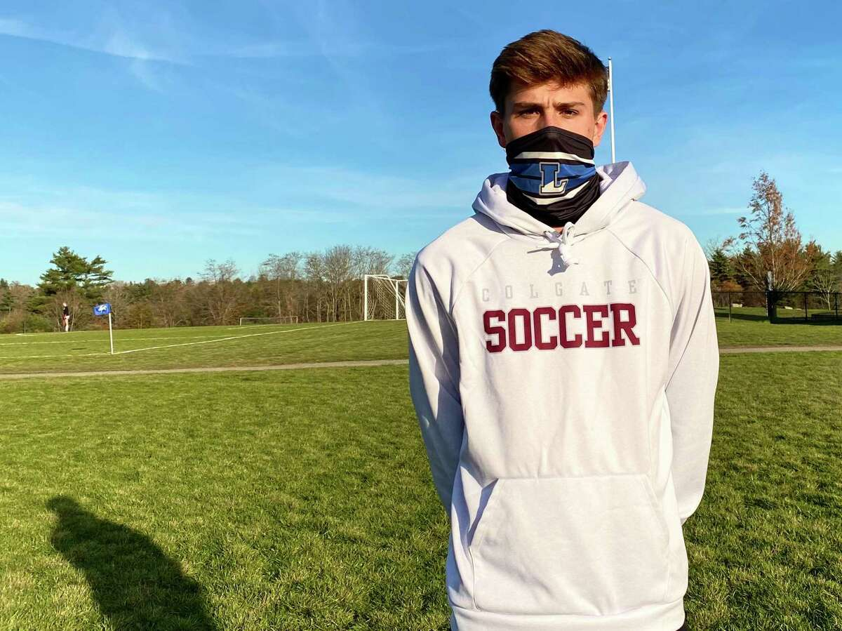 Timmy Donovan on the soccer fields at Litchfield High School. Donovan is an All-American striker and will be playing in college at Colgate.