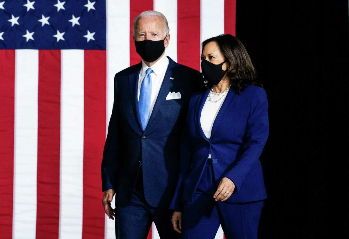 Democratic presidential nominee Joe Biden and his running mate, Sen. Kamala Harris (D-Calif.) at their first even together in Wilmington, Del., Aug. 12, 2020.