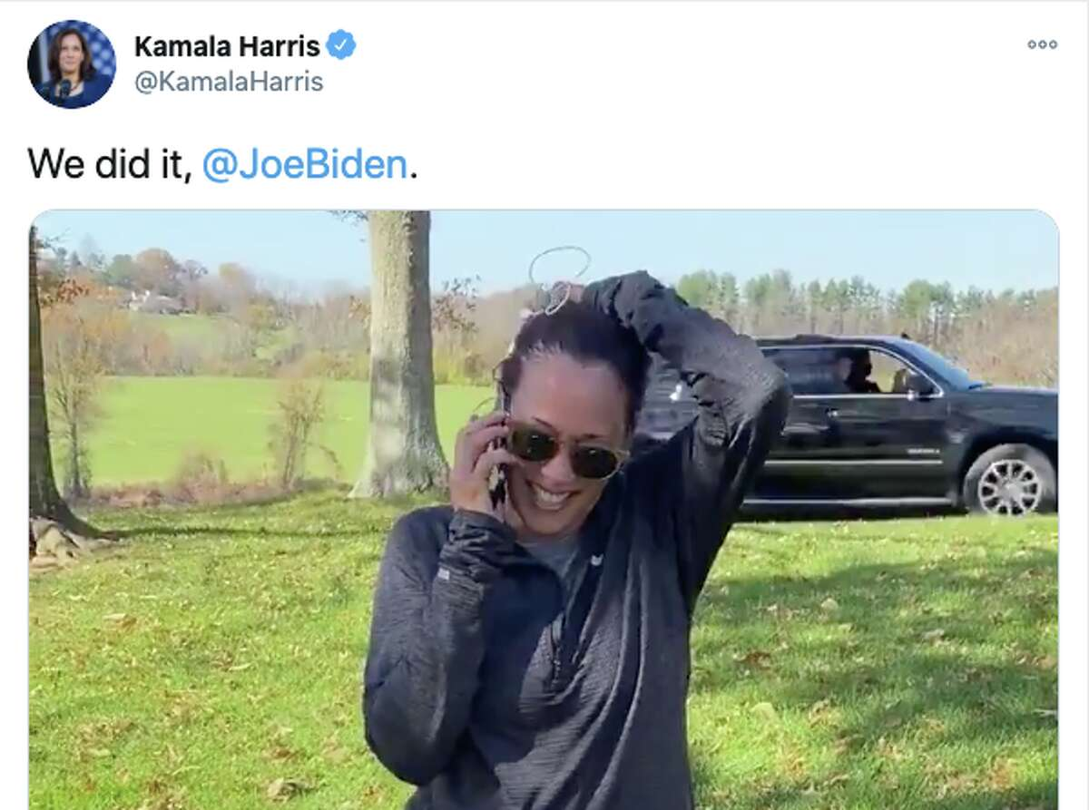 Vice president-elect Kamala Harris tweeted a video of her call with president-elect Joe Biden once he was declared the winner of the 2020 presidential election.
