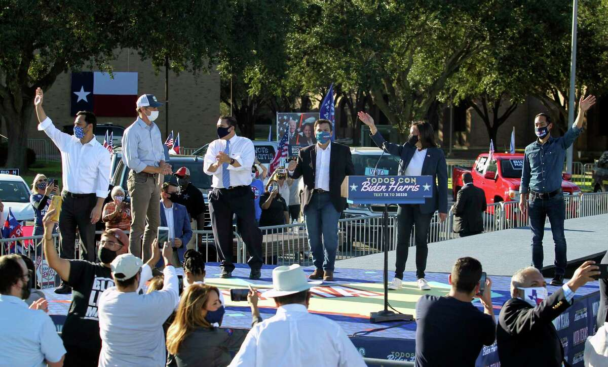 Joaquin Castro, Beto O'Rourke, Henry Cuellar, Vicente Gonzalez, Sen. Kamala Harris and Julian Castro campaign Oct. 30 at the University of Texas Rio Grande Valley's Edinburg campus. About a third of the Latino electorate has been breaking for the GOP since the 1960s.