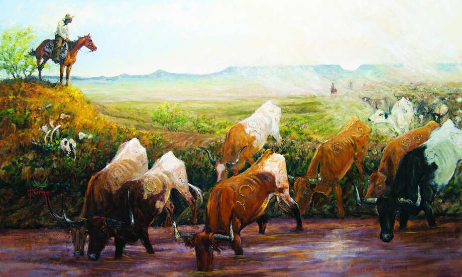 """Painting titled """"Horse Head Crossing 1866"""" by artist Mike Capron. Photo: Mike Capron, Express-News"""