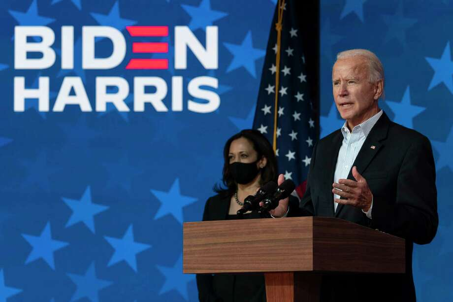 Democratic presidential candidate former Vice President Joe Biden joined by Democratic vice presidential candidate Sen. Kamala Harris, D-Calif., speaks at the The Queen theater Thursday, Nov. 5, 2020, in Wilmington, Del. Photo: Carolyn Kaster, AP / Copyright 2020 The Associated Press. All rights reserved