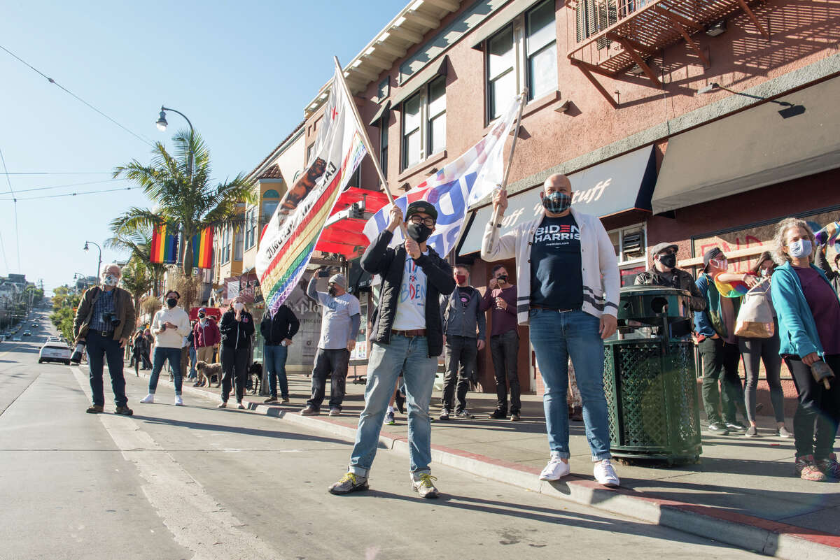 Hundreds gathered to celebrate in San Francisco's Castro District shortly after news of Joe Biden and Kamala Harris' election win was announced.
